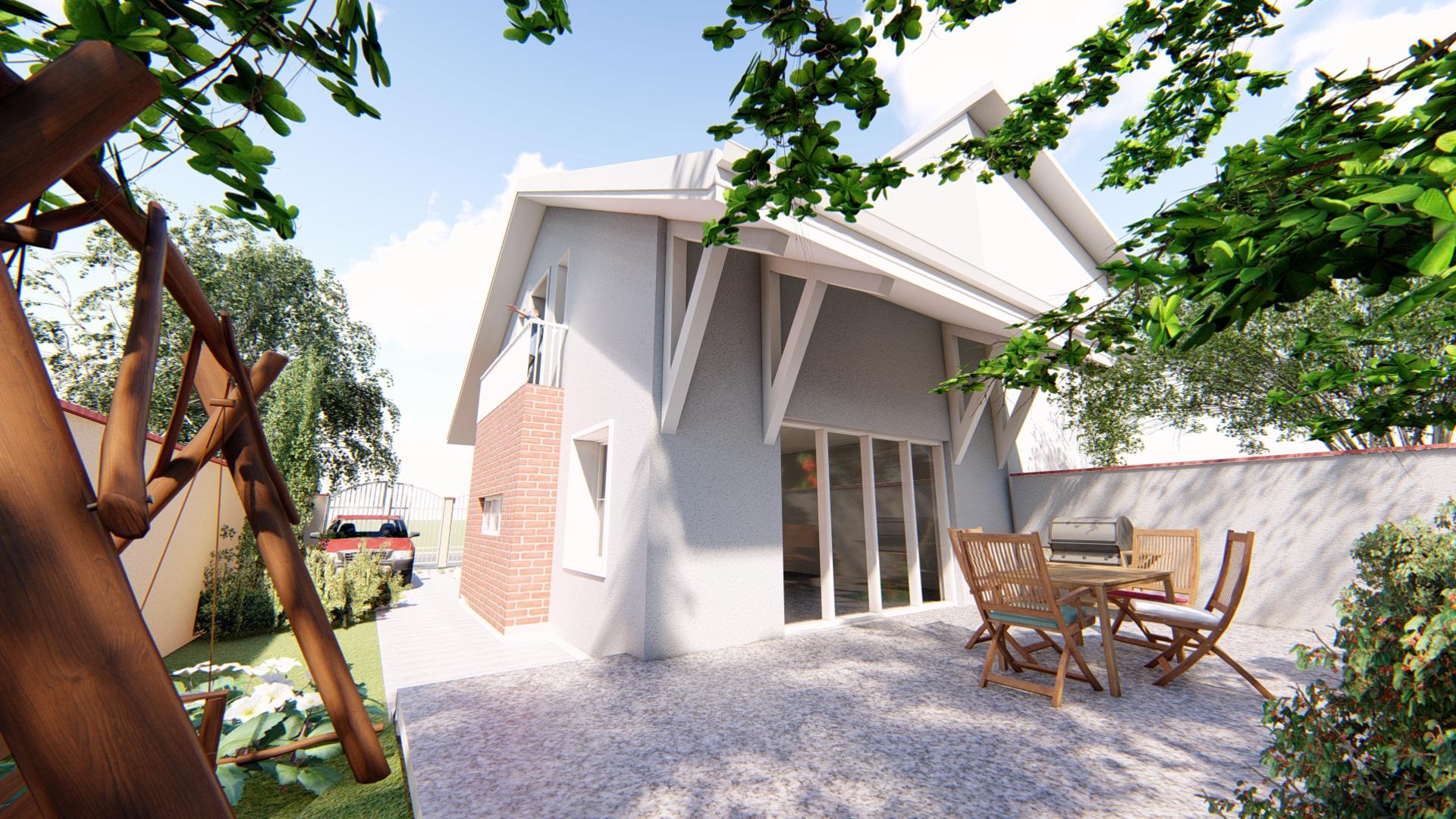 Proiect de casă cu subsol, etaj mansardat, terasă și grădină – GALERIE FOTO