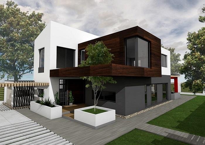 Proiect de casă minimalistă cu etaj, piscină și grădină – GALERIE FOTO